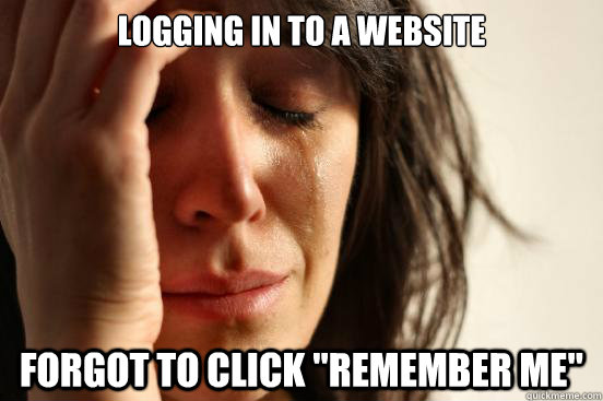 Logging in to a website Forgot to click