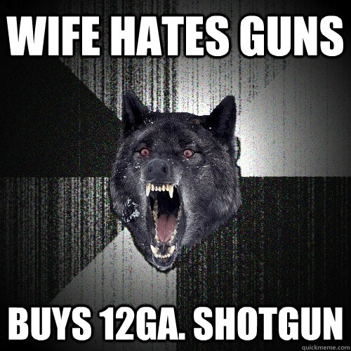 Wife hates Guns Buys 12ga. Shotgun - Wife hates Guns Buys 12ga. Shotgun  Insanity Wolf