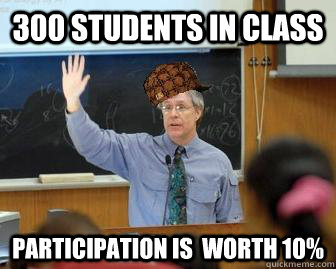 300 Students in class participation is  worth 10%