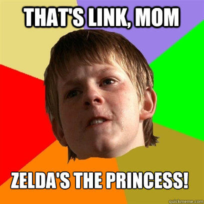 That's link, mom zelda's the princess!  Angry School Boy