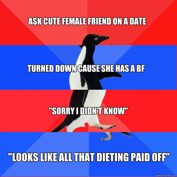 Ask cute female friend on a date Turned down cause she has a bf
