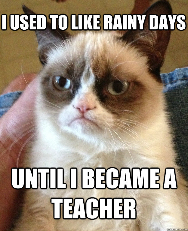 I used to like rainy days until i became a teacher - I used to like rainy days until i became a teacher  Grumpy Cat