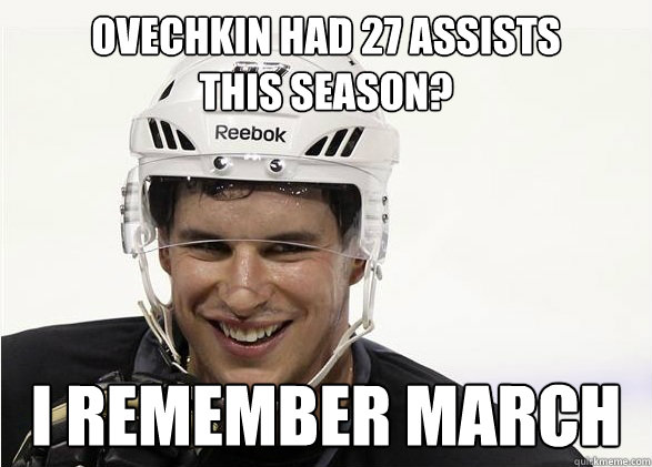 Ovechkin had 27 assists this season? I remember March
