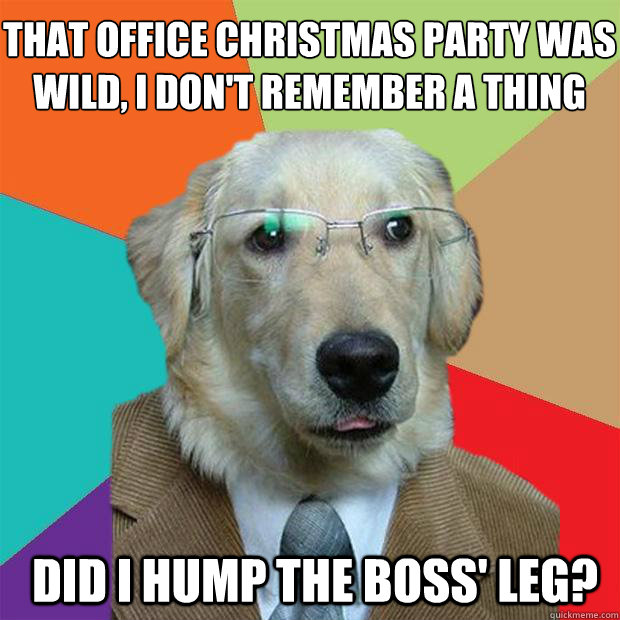 that office christmas party was wild i dont remember a thing did i hump the boss leg