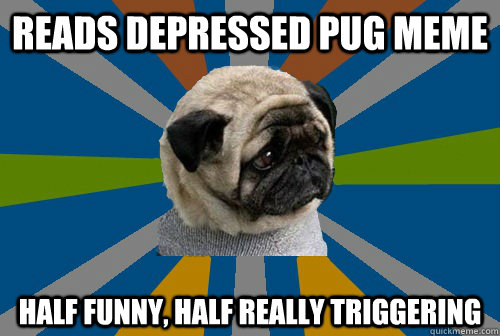 Reads depressed pug meme Half funny, half really triggering