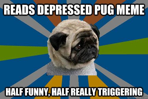 Reads depressed pug meme Half funny, half really triggering