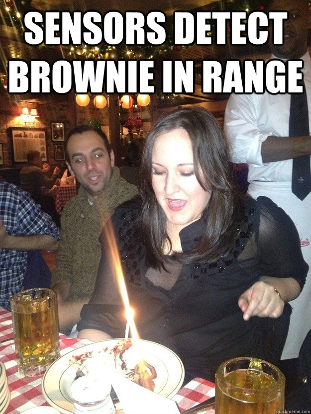 Sensors detect brownie in range  - Sensors detect brownie in range   Laser Eyes