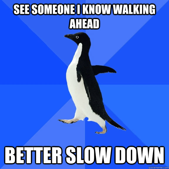 See someone i know walking ahead Better slow down - See someone i know walking ahead Better slow down  Socially Awkward Penguin