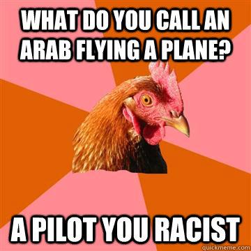 b472267e0fdf7105e72284c8692b79687c539311514c84c53e7ad8f159647820 what do you call an arab flying a plane? a pilot you racist anti,Funny Arab Meme Airplane