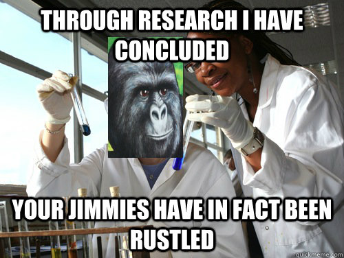 Through research I have concluded Your jimmies have in fact been rustled