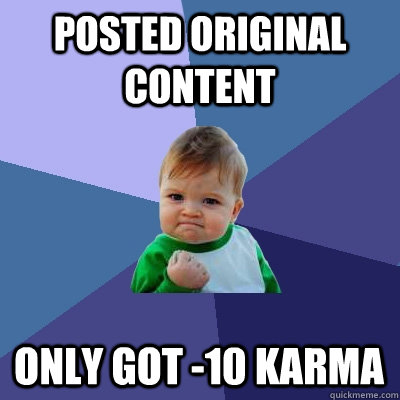 posted original content only got -10 karma - posted original content only got -10 karma  Success Kid