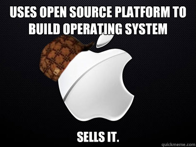 Uses open source platform to build operating system sells it.
