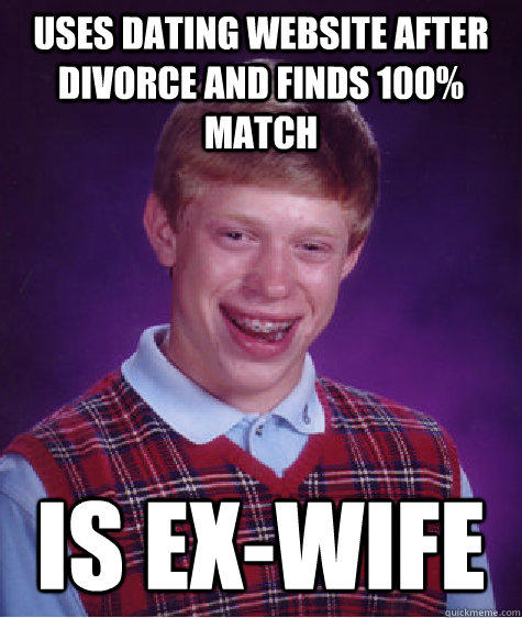 Uses dating website after divorce and finds 100% match is ex-wife - Uses dating website after divorce and finds 100% match is ex-wife  Bad Luck Brian