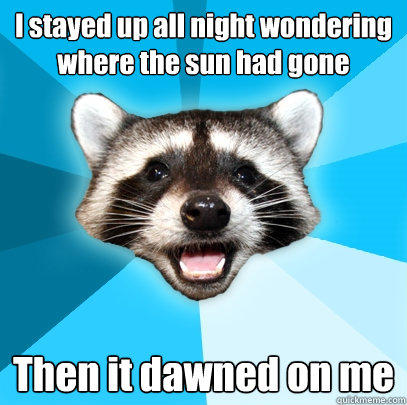 I stayed up all night wondering where the sun had gone Then it dawned on me - I stayed up all night wondering where the sun had gone Then it dawned on me  Lame Pun Coon