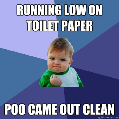 running low on toilet paper poo came out clean - running low on toilet paper poo came out clean  Success Kid