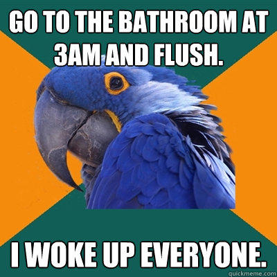 Go to the bathroom at 3am and flush. I woke up everyone. - Go to the bathroom at 3am and flush. I woke up everyone.  Paranoid Parrot