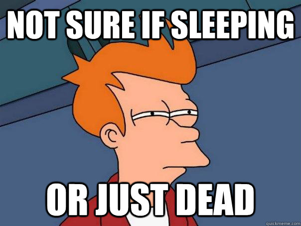 NOt sure if sleeping Or just dead - NOt sure if sleeping Or just dead  Futurama Fry