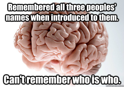 Remembered all three peoples' names when introduced to them. Can't remember who is who. - Remembered all three peoples' names when introduced to them. Can't remember who is who.  Scumbag Brain