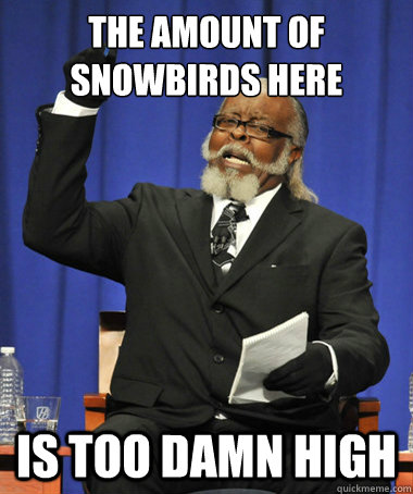 the amount of snowbirds here is too damn high - the amount of snowbirds here is too damn high  The Rent Is Too Damn High
