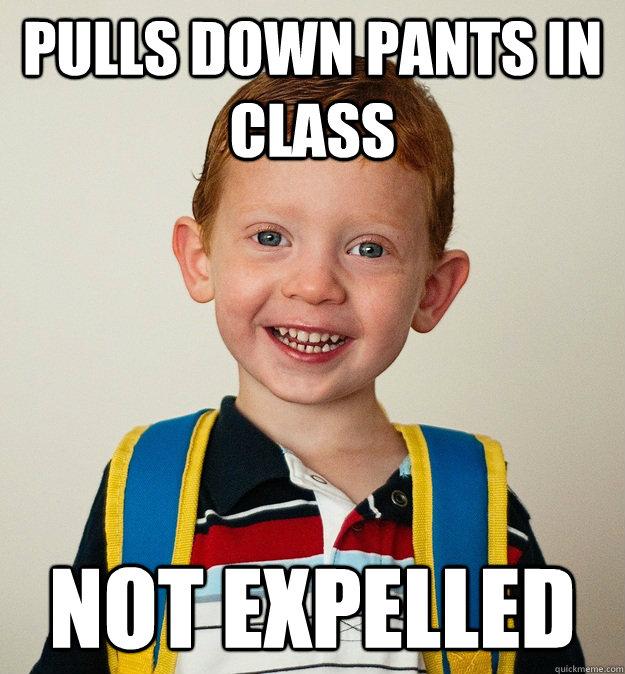 Pulls down pants in class Not expelled  Pre-School Freshman