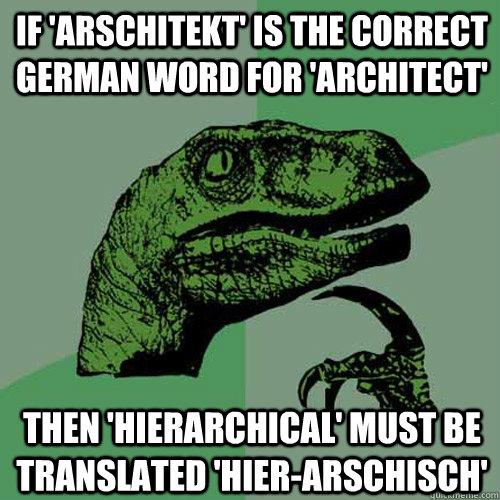 b542a8285c50e0494315284941883344f88e7705fc713d6fb5dcacf119066430 if 'arschitekt' is the correct german word for 'architect' then,German Word Meme