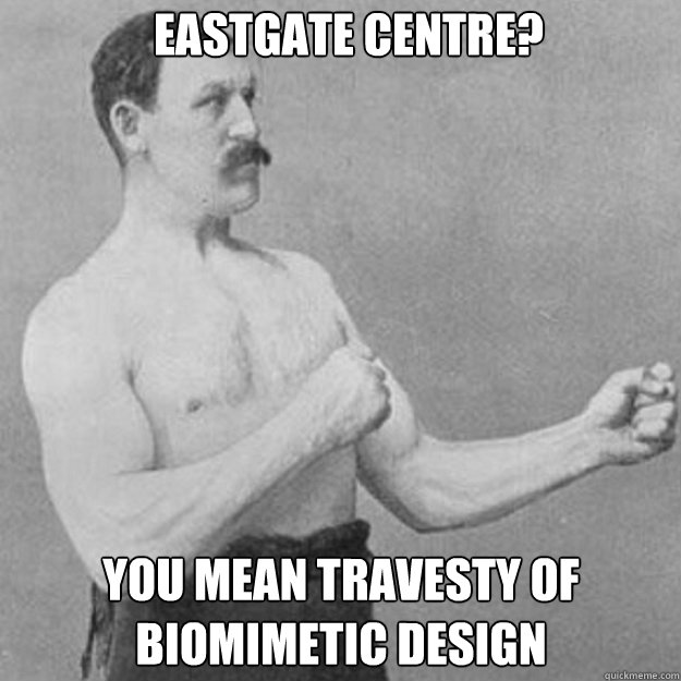 Eastgate Centre? You mean travesty of biomimetic design - Eastgate Centre? You mean travesty of biomimetic design  overly manly man