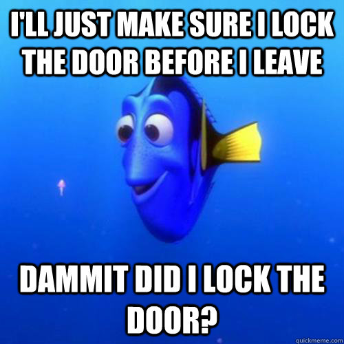 I'll just make sure i lock the door before i leave Dammit did i lock the door? - I'll just make sure i lock the door before i leave Dammit did i lock the door?  dory