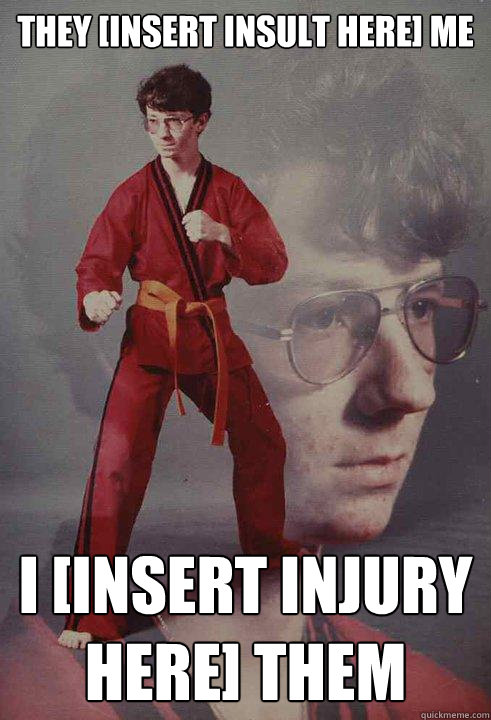 They [insert insult here] me I [insert injury here] them - They [insert insult here] me I [insert injury here] them  Karate Kyle