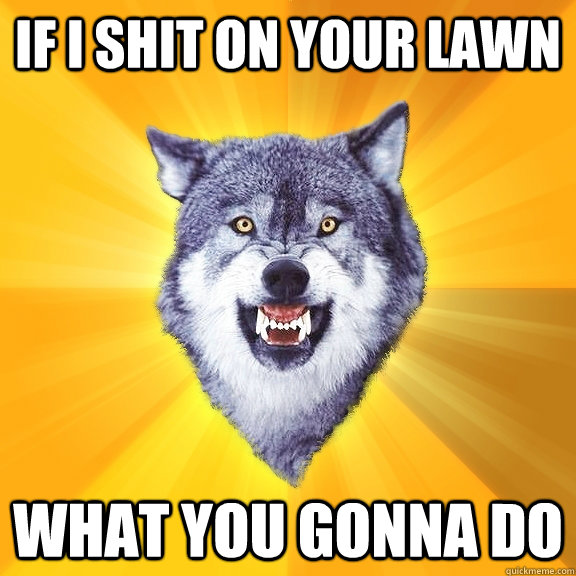 If i shit on your lawn what you gonna do - If i shit on your lawn what you gonna do  Courage Wolf