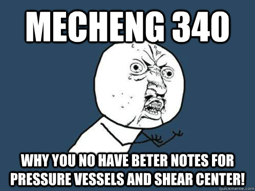 mecheng 340 why you no have beter notes for pressure vessels and shear center!