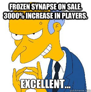 Frozen Synapse on sale. 3000% increase in players. Excellent...