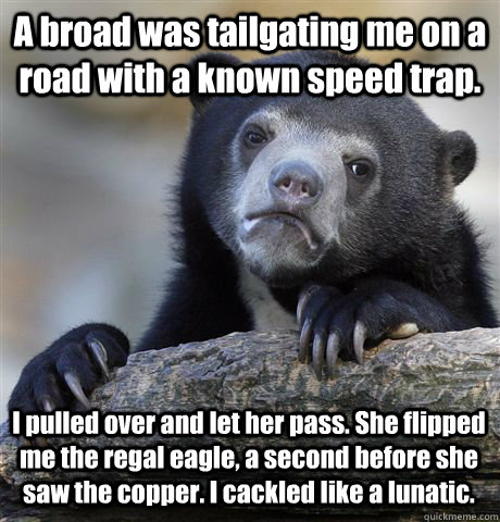 A broad was tailgating me on a road with a known speed trap. I pulled over and let her pass. She flipped me the regal eagle, a second before she saw the copper. I cackled like a lunatic. - A broad was tailgating me on a road with a known speed trap. I pulled over and let her pass. She flipped me the regal eagle, a second before she saw the copper. I cackled like a lunatic.  Confession Bear