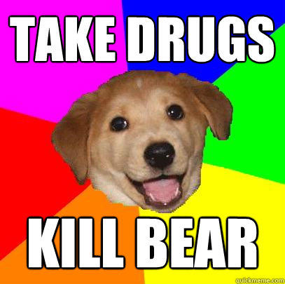 Take drugs kill bear - Take drugs kill bear  Advice Dog