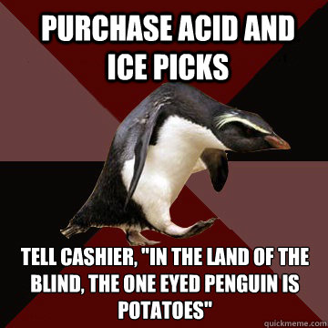 Purchase acid and ice picks Tell cashier,