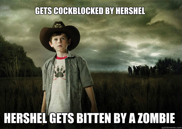 gets cockblocked by hershel Hershel gets bitten by a zombie  Carl Grimes Walking Dead