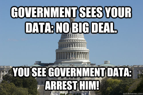Government sees your data: No big deal. You see government data: arrest him!