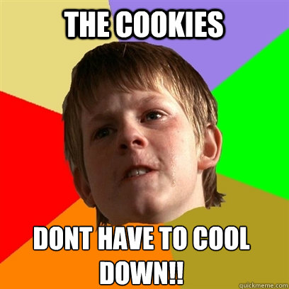 the cookies dont have to cool down!! - the cookies dont have to cool down!!  Angry School Boy