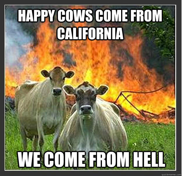 Happy cows come from California We come from hell - Happy cows come from California We come from hell  Evil cows