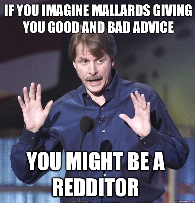 If you imagine mallards giving you good and bad advice You might be a redditor - If you imagine mallards giving you good and bad advice You might be a redditor  You might be a redditor