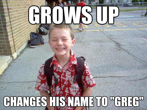 grows up changes his name to