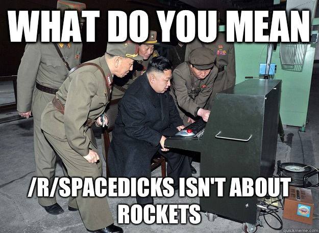 What do you mean /r/spacedicks isn't about rockets - What do you mean /r/spacedicks isn't about rockets  kim jong un