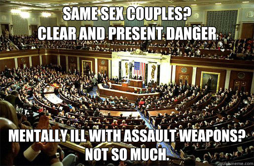 Same sex couples?   Clear and Present danger Mentally Ill with assault weapons?  Not so much.