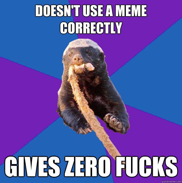 Doesn't use a Meme Correctly  Gives Zero fucks