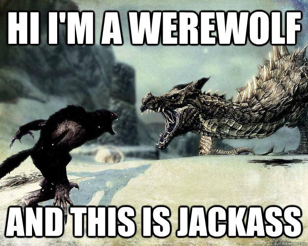 Hi I'm a werewolf and this is jackass - Hi I'm a werewolf and this is jackass  skyrim memes