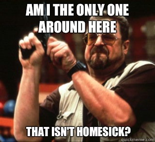 AM I THE ONLY ONE AROUND HERE THAT ISN'T HOMESICK?