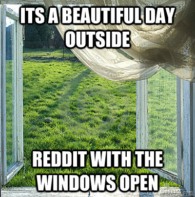 its a Beautiful day outside reddit with the windows open - its a Beautiful day outside reddit with the windows open  Misc