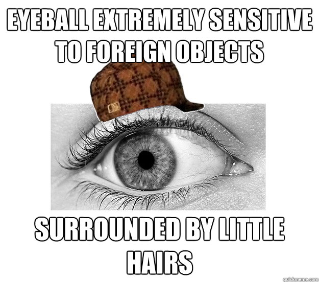 Eyeball extremely sensitive to foreign objects Surrounded by little hairs