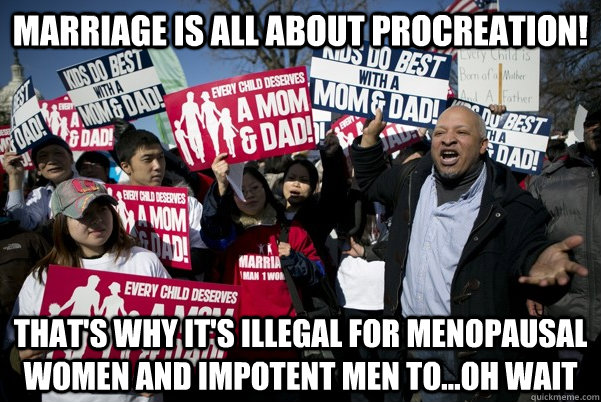 Marriage is All about procreation! That's why it's illegal for menopausal women and impotent men to...oh wait - Marriage is All about procreation! That's why it's illegal for menopausal women and impotent men to...oh wait  Adam and Steve