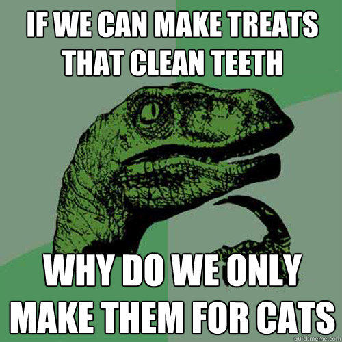If we can make treats that clean teeth why do we only make them for cats  Philosoraptor