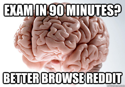 exam in 90 minutes? Better browse reddit  - exam in 90 minutes? Better browse reddit   Scumbag Brain